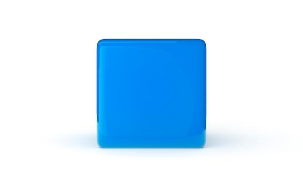 흰색 배경 3d 렌더링 그림에 고립 된 블루 큐브