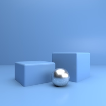 Blue cube stage with silver ball for product showcase