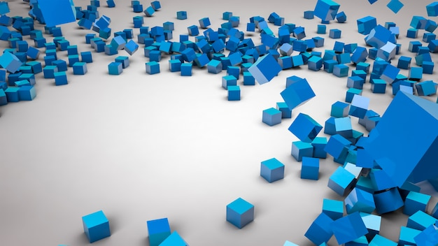 Blue cubes falling on a white isolated surface with a place to place your text 3d illustration