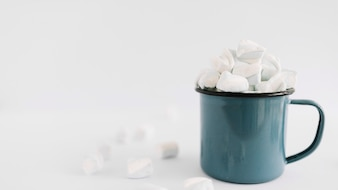 Blue cup with soft marshmallows