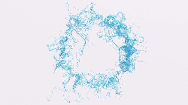 青い曲線。抽象的なイラスト、3dレンダリング。