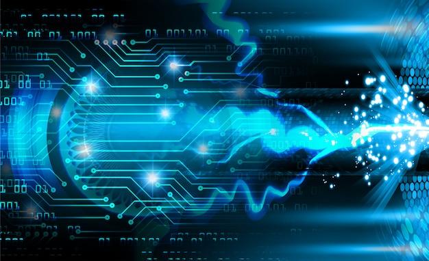 푸른 사이버 회로 미래 기술 배경