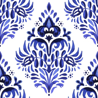 Blue damask hand drawn floral design. abstract seamless ornamental watercolor paint pattern for fabric and ceramic tile.
