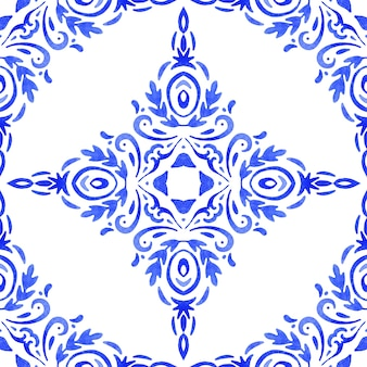 Blue damask hand drawn floral design. abstract seamless ornamental watercolor paint pattern for fabric