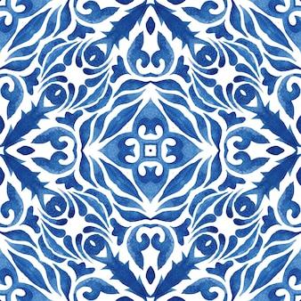 블루 다 마스크 원활한 장식 수채화 당초 페인트 타일