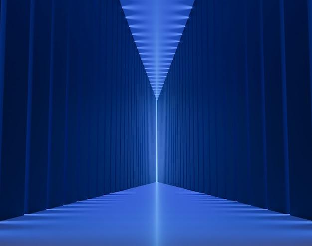 隙間のある青く濃く長いトンネル。抽象的な長方形の廊下。未来的な背景。 3 d レンダリング。