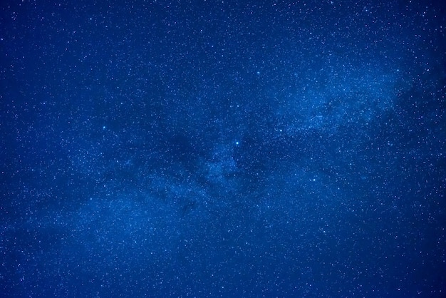 Blue dark night sky with many stars. space milky way background