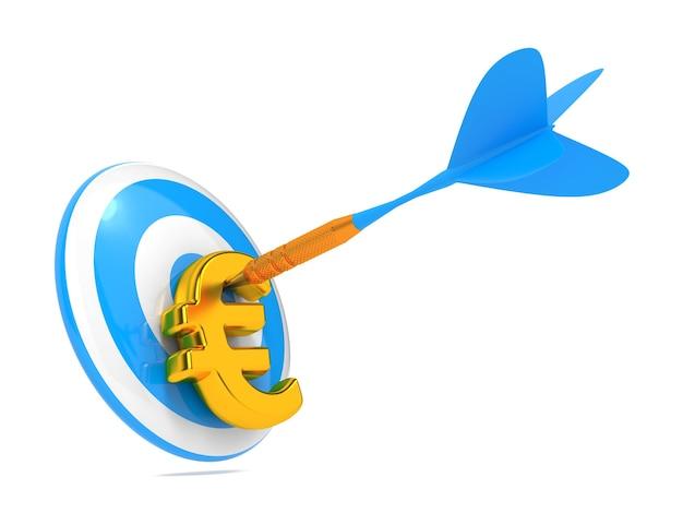 Синий дротик ударил знак евро изолированные