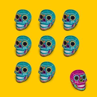 Синие декоративные черепа на желтом фоне