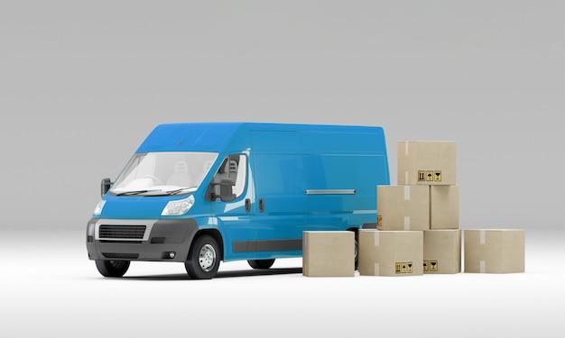 Синий фургон с картонными коробками