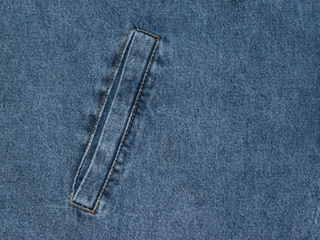 Blue denim background with a sewn-in inside pocket. popular fabric.