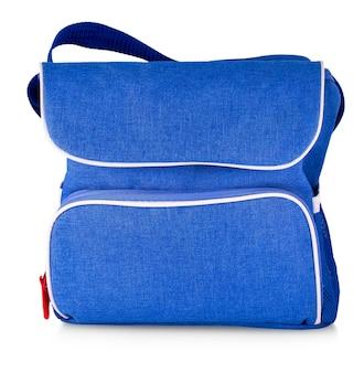 Blue denim bag on white