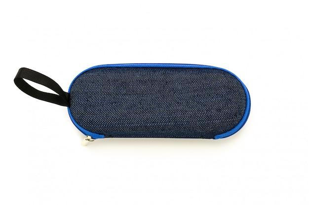 블루 데님 안경 상자 흰색 절연
