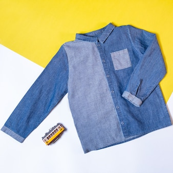 Blue denim jean shirt isolated top view