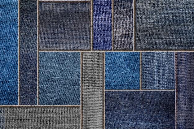 Blue denim jeans texture, patchwork denim jean fabric pattern