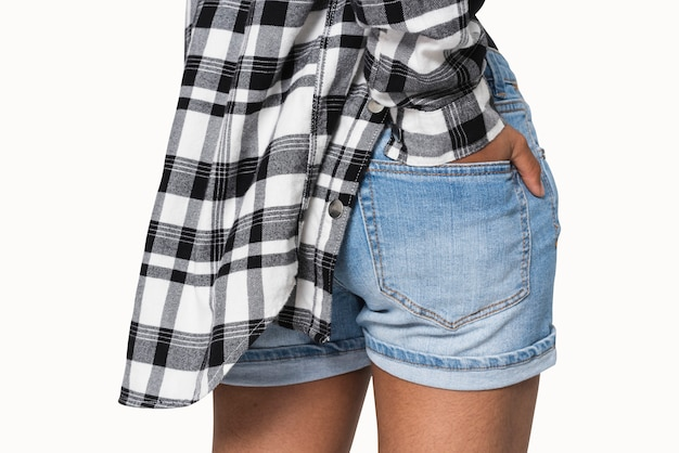 Tasca per pantaloncini in denim blu per servizi di abbigliamento giovanile