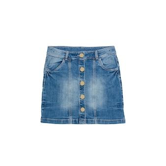 Синяя джинсовая юбка на белом фоне. изолировать. концепция моды