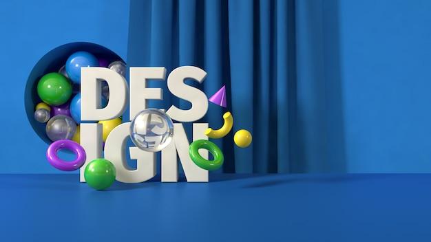 Синий дизайн баннера шаблон, 3d визуализация