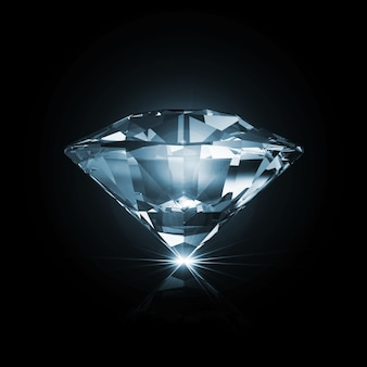 Blue diamond on black with glowing rays isolated