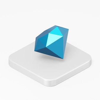 Blue diamond icon in 3d rendering interface ui ux element