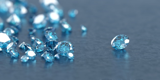 Blue diamond sapphire with group of diamonds, 3d illustration