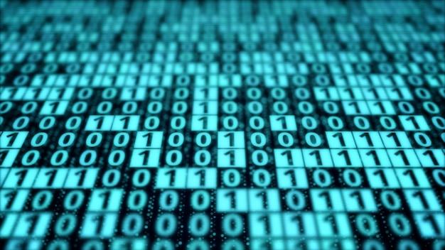 Blue digital binary code matrix on computer monitor display screen, pattern of bit data block processing, modern cyber security coding technology concept background