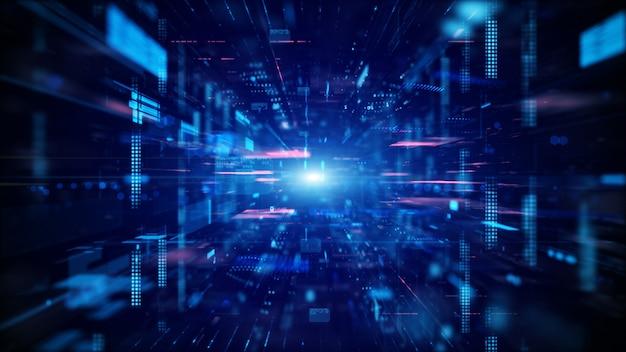 Голубое цифровое киберпространство и цифровая концепция сетевых подключений данных.