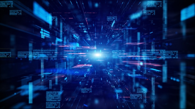 블루 디지털 사이버 공간 및 디지털 데이터 네트워크 연결 개념.
