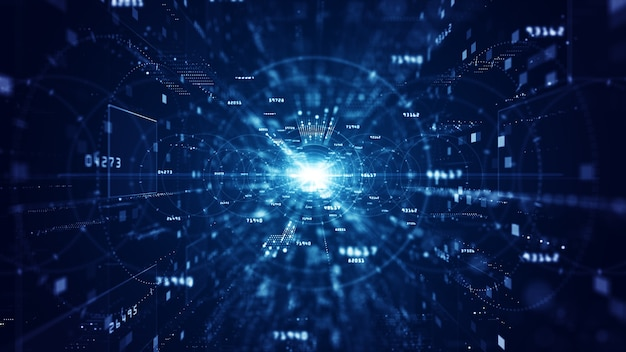 Голубое цифровое киберпространство с частицами и сетью цифровых данных