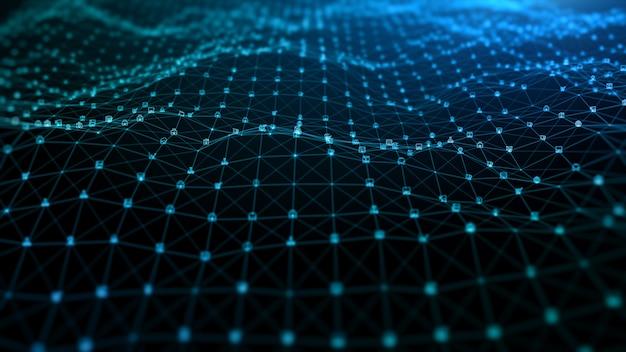 블루 디지털 입자 파동 및 디지털 데이터 네트워크 연결