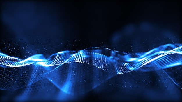 Blue digital particles wave flow with bokeh abstract background.