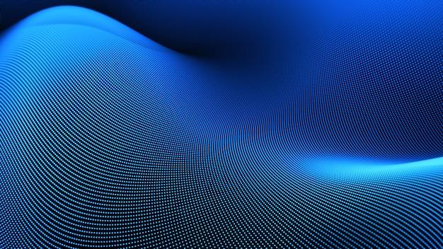Синие цифровые частицы волновой поток
