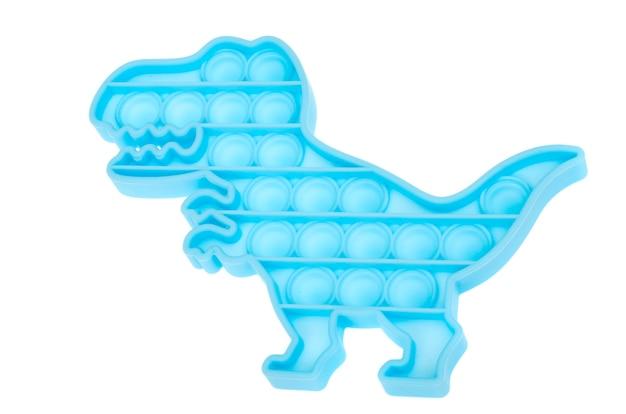 青い恐竜のシンプルなディンプル、それをポップします。子供と大人のためのファッショナブルでモダンな抗ストレス玩具。