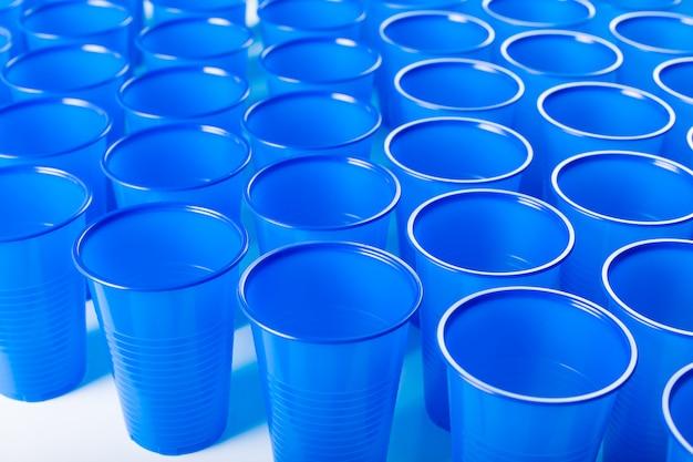 Blue disposable plastic glasses