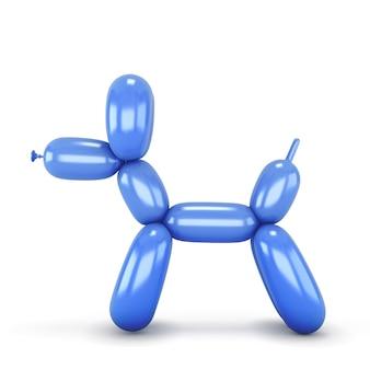 風船で作った青い犬。 3dイラスト。