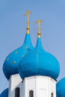 Blue domes of the russian orthodox church in the vysotsky monastery