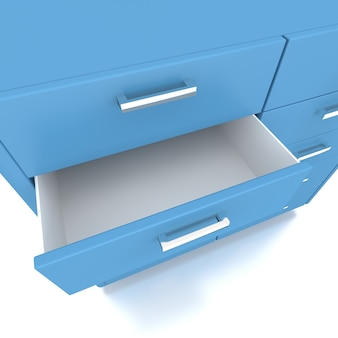 Blue drawer of low cabinet .3d rendering