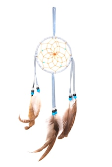 Blue dream catcher isolated on white