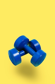 Blue dumbbells on yellow background. sport and exercise. 3d illustration