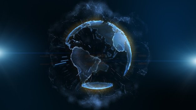 Blue earth digital technology with circle and bar on dark blue background.
