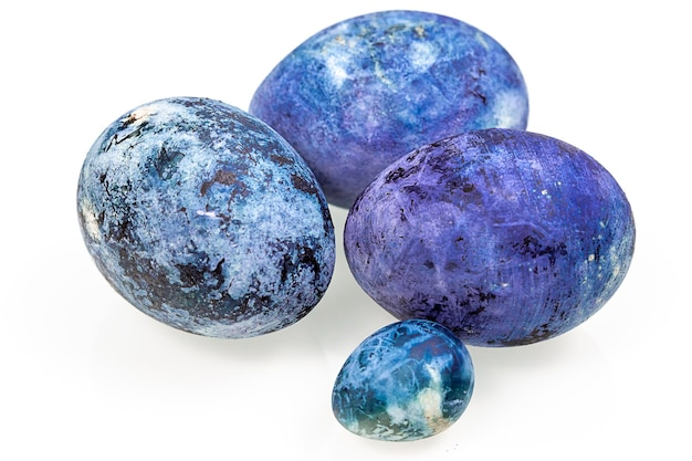 Blue easter eggs isolated on the white background.