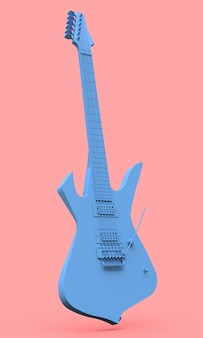 Blue electric guitar in the style of minimal on a pink background