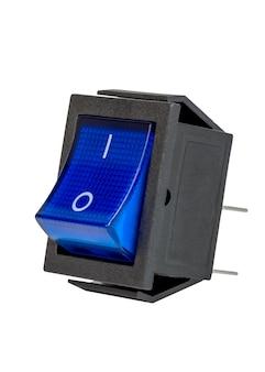 青い電源スイッチ、電子部品、白い背景で隔離