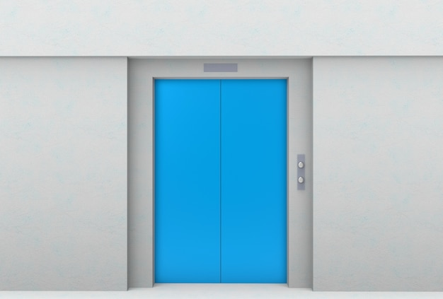 Blue elevator door with gray cement wall background.