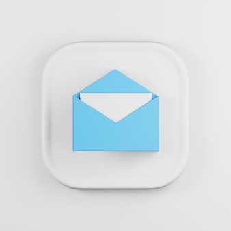 Blue envelope icon with letter cartoon style.