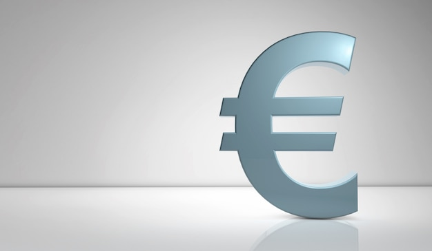 Blue euro sign on gray wall