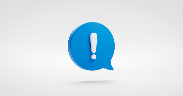Blue exclamation icon sign or attention caution mark illustration graphic element symbol isolated on white background with warning problem error message button design concept. 3d rendering.