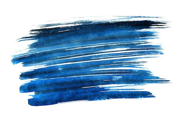 파란색 표현 브러시 스트로크 흰색 배경에 고립. 디자인 요소