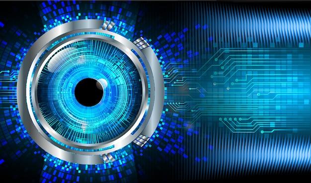 파란 눈 사이버 회로 미래 기술 개념 배경