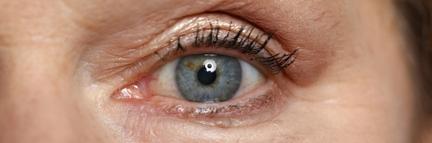 Blue eye of elderly woman look straight